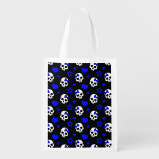 Cráneos del chica del gótico en azul marino bolsa para la compra