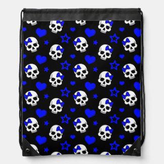 Cráneos del chica del gótico en azul marino mochilas