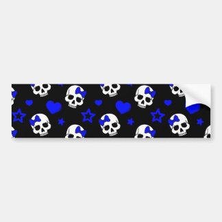Cráneos del chica del gótico en azul marino pegatina para auto