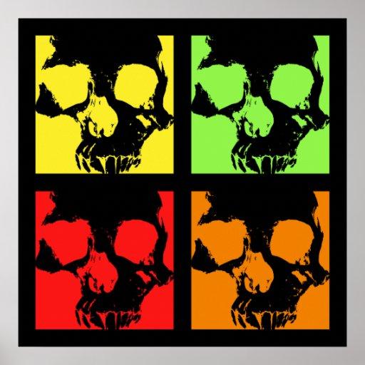 Cráneos del color retros póster