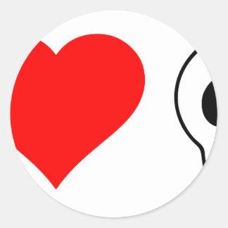 cráneos del corazón i pegatina redonda