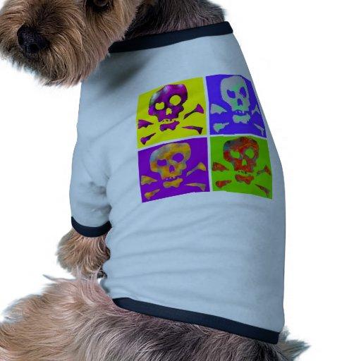 Cráneos del extracto del arte pop camisetas de mascota