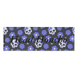Cráneos del flower power del bígaro etiqueta con nombre