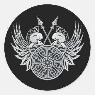 Cráneos del guerrero etiquetas redondas