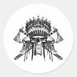 Cráneos del nativo americano etiqueta redonda
