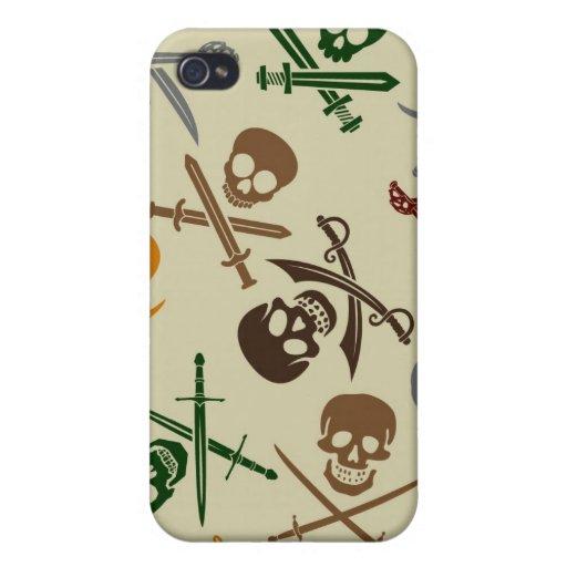 Cráneos del pirata con las espadas cruzadas iPhone 4 carcasa