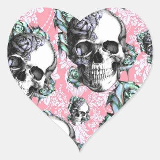 Cráneos del Rockabilly en primavera Pegatina En Forma De Corazón