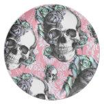 Cráneos del Rockabilly en primavera Plato De Cena