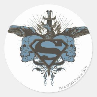 Cráneos del superhombre - azul pegatina redonda