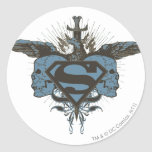 Cráneos del superhombre - azul pegatinas