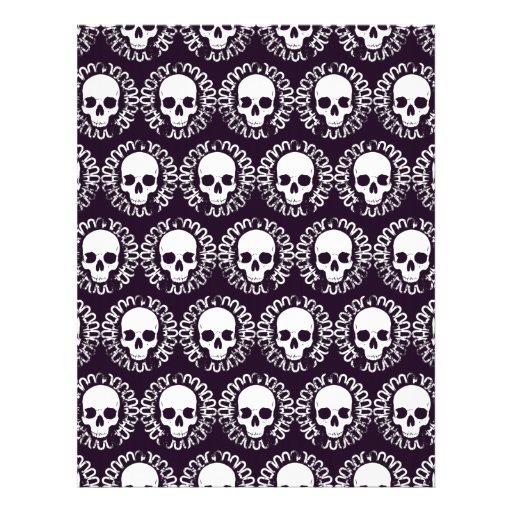 Cráneos del vintage púrpuras y blancos membrete personalizado