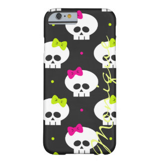 cráneos divertidos de Halloween del dibujo animado Funda Barely There iPhone 6