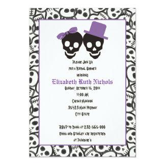Cráneos elegantes Halloween que casa la ducha Invitación 12,7 X 17,8 Cm