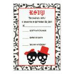 Cráneos elegantes Halloween RSVP que se casa negro Invitación 8,9 X 12,7 Cm