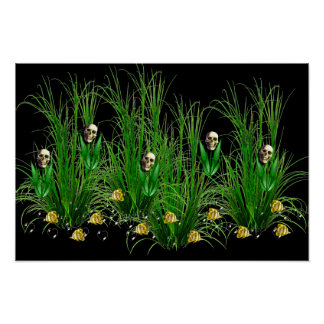 Cráneos en las malas hierbas póster