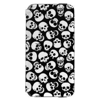 Cráneos en modelo negro del fondo funda billetera para iPhone 6 watson