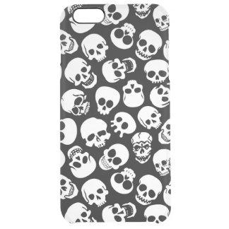 Cráneos en modelo negro del fondo funda clearly™ deflector para iPhone 6 plus de unc