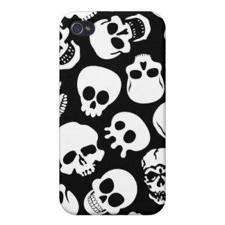Cráneos en modelo negro del fondo iPhone 4/4S carcasa