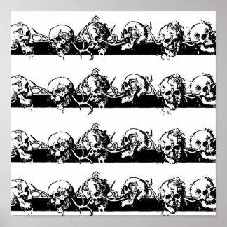 Cráneos en una vid. Circa México 1901 Póster