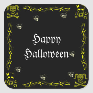 Cráneos góticos Halloween del chica amarillo de la Calcomanías Cuadradas