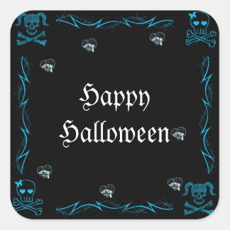 Cráneos góticos Halloween del chica azul de la Calcomanías Cuadradass