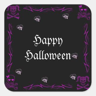 Cráneos góticos Halloween del chica púrpura de la Calcomanias Cuadradas