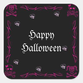 Cráneos góticos Halloween del chica rosado de la Calcomanías Cuadradass Personalizadas