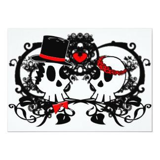 Cráneos góticos que casan la invitación