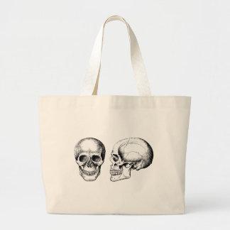 Cráneos humanos grises de cara mayor bolsa tela grande