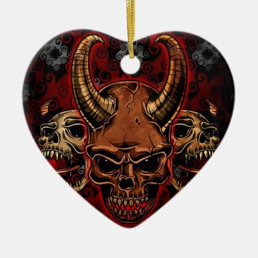 Cráneos malvados adorno de navidad