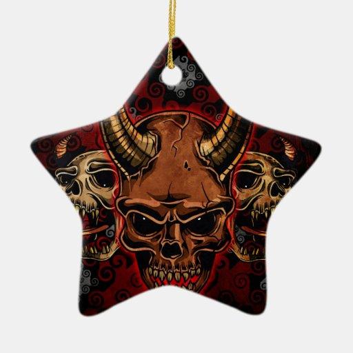 Cráneos malvados ornamentos de navidad