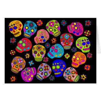 Cráneos mexicanos del azúcar del arte popular tarjeta de felicitación