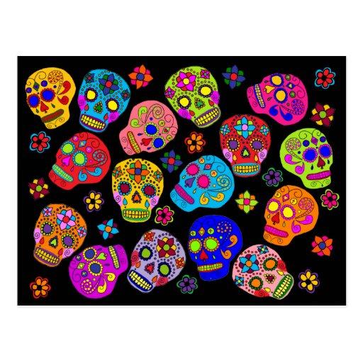 Cráneos mexicanos del azúcar del arte popular postales