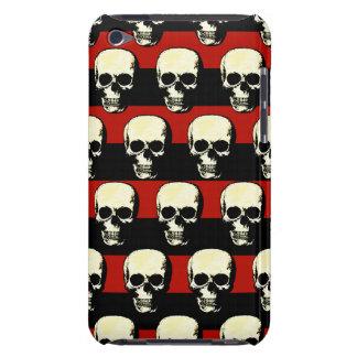 Cráneos modelados vintage en rayas negras rojas Case-Mate iPod touch carcasas
