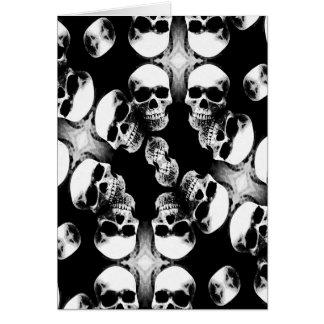 Cráneos negro y blanco tarjeta de felicitación