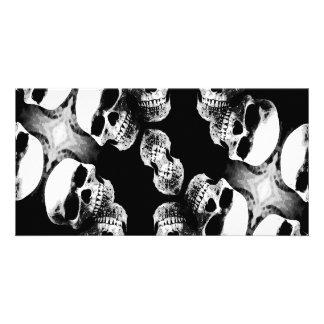 Cráneos negro y blanco tarjetas personales con fotos
