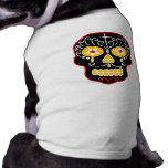 Cráneos negros adaptables del azúcar camiseta de mascota