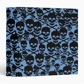 Cráneos negros en azul
