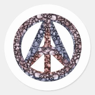 Cráneos, paz y anarquía pegatina redonda