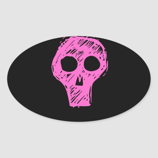 Cráneos Pegatina Ovalada