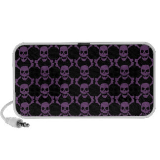 Cráneos púrpuras en negro, altavoz del Doodle de O