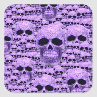 Cráneos púrpuras góticos pegatina cuadrada