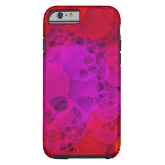 Cráneos púrpuras rojos abstractos funda para iPhone 6 tough