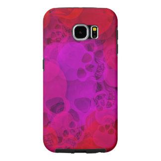 Cráneos púrpuras rojos abstractos fundas samsung galaxy s6