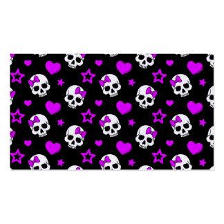 Cráneos púrpuras violetas del punk rock tarjetas de visita