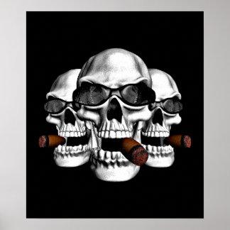Cráneos que llevan sombras poster