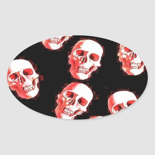 cráneos, rojo blanco pegatina ovalada