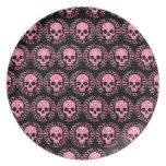 Cráneos rosa y negro del vintage platos para fiestas