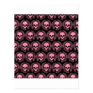 Cráneos rosa y negro del vintage tarjeta postal