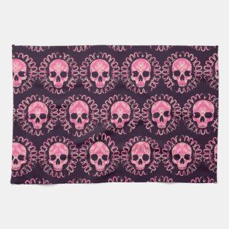 Cráneos rosa y púrpura del vintage toallas
